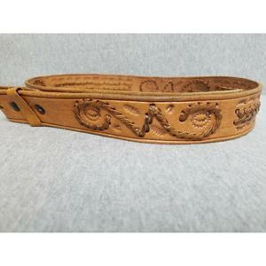 VTG Leather Belt Handmade Tooled and Woven